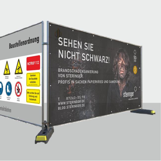 Banner für Bauzaun / Bauzaun Werbebanner